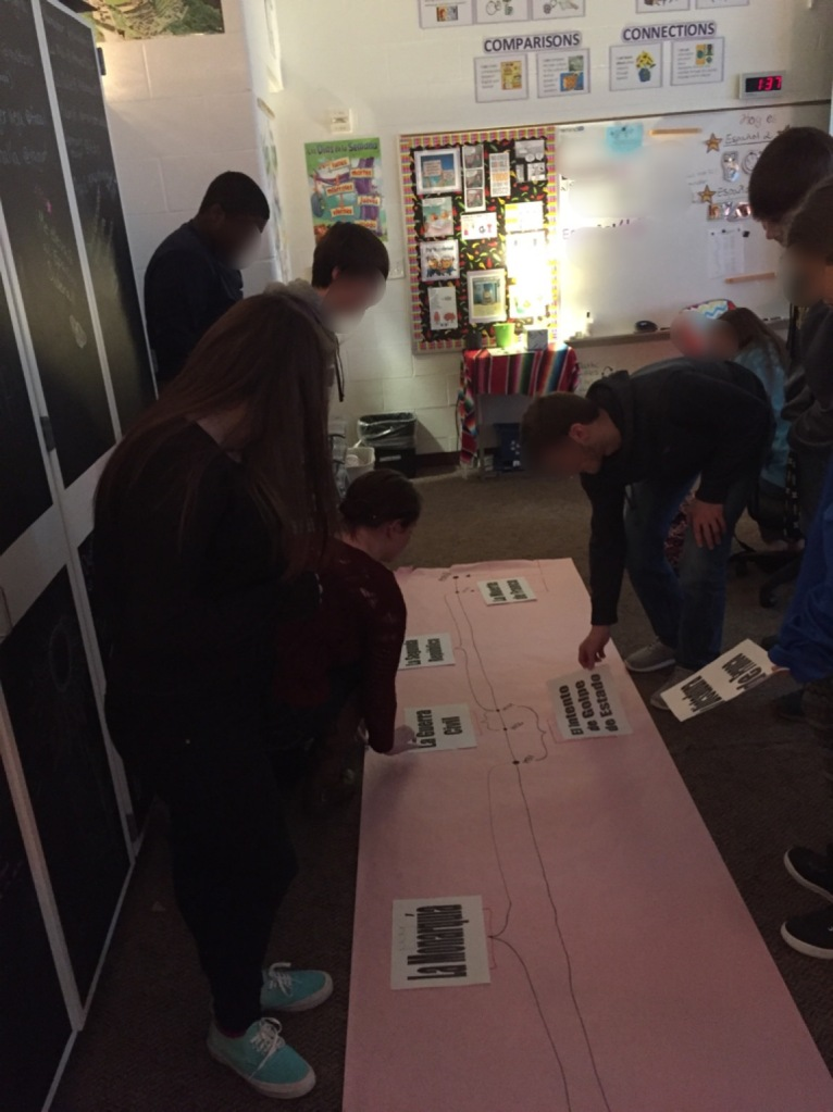 Students work together to place the events on the timeline.